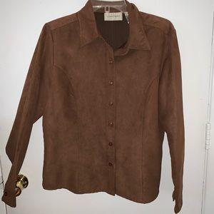 LEMON GRASS Button Down Shirt | Sz L | Brown